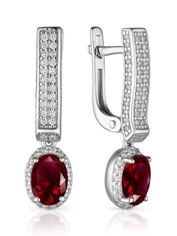 Silver Garnet Dangles With White Crystals, image