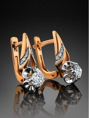 Golden Statement Earrings With White Diamonds, image , picture 2