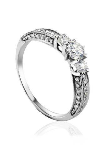 White Gold Statement Ring With Diamonds, Ring Size: 7 / 17.5, image