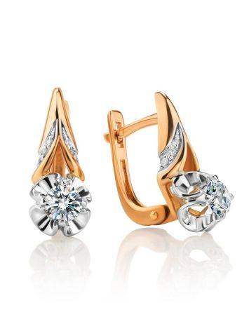 Golden Statement Earrings With White Diamonds, image