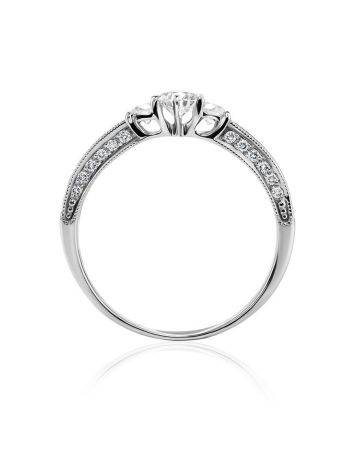 White Gold Statement Ring With Diamonds, Ring Size: 7 / 17.5, image , picture 3