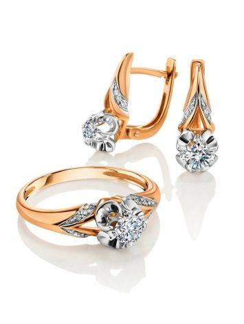 Golden Statement Earrings With White Diamonds, image , picture 3