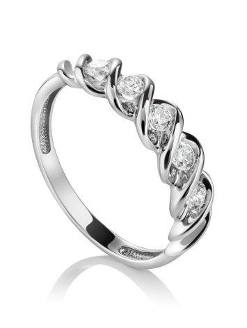 White Gold Diamond Ring, Ring Size: 7 / 17.5, image