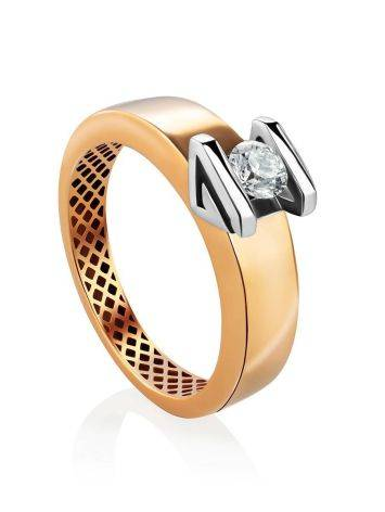 Two Toned Golden Ring With Solitaire Diamond, Ring Size: 7 / 17.5, image