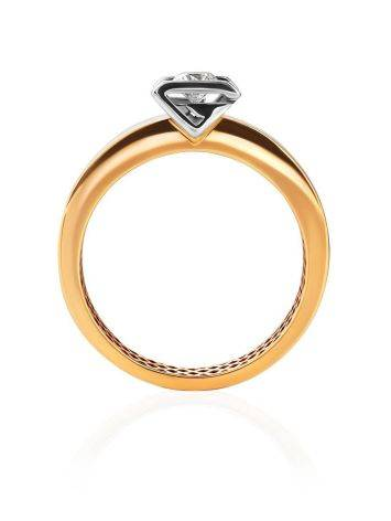 Two Toned Golden Ring With Solitaire Diamond, Ring Size: 7 / 17.5, image , picture 4