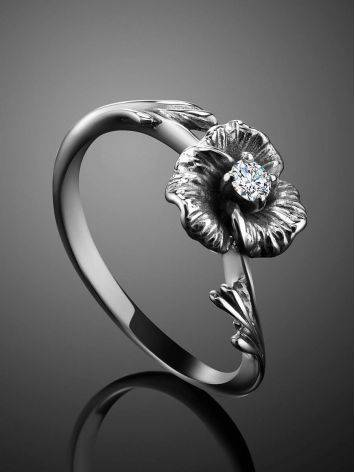 White Gold Floral Ring With Diamond Centerstone, Ring Size: 5.5 / 16, image , picture 2