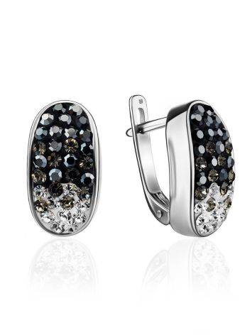 Sterling Silver Earrings With Two Toned Crystals The Eclat, image