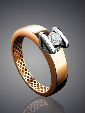 Two Toned Golden Ring With Solitaire Diamond, Ring Size: 7 / 17.5, image , picture 2