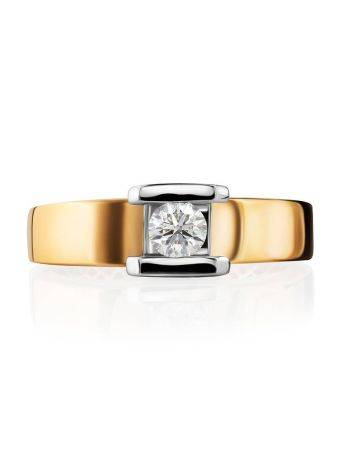 Two Toned Golden Ring With Solitaire Diamond, Ring Size: 7 / 17.5, image , picture 3