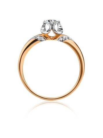 Golden Statement Ring With White Diamonds, Ring Size: 8 / 18, image , picture 3
