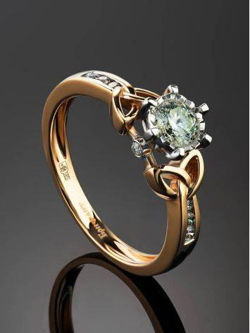 Golden Floral Ring With White Diamonds, Ring Size: 6.5 / 17, image , picture 2
