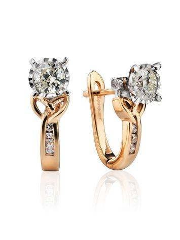 Golden Floral Earrings With White Diamonds, image