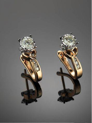 Golden Floral Earrings With White Diamonds, image , picture 2