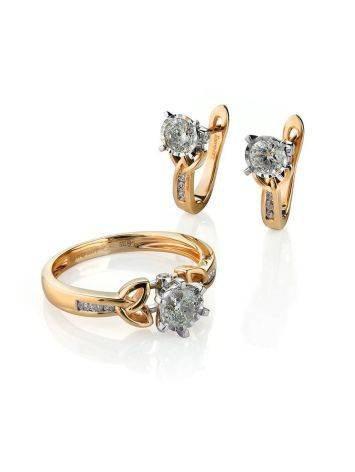 Golden Floral Earrings With White Diamonds, image , picture 3