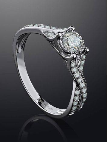 White Gold Ring With Diamond Channel Set, Ring Size: 6.5 / 17, image , picture 2