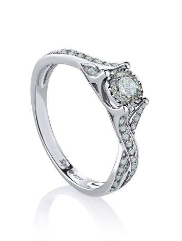 White Gold Ring With Diamond Channel Set, Ring Size: 6.5 / 17, image