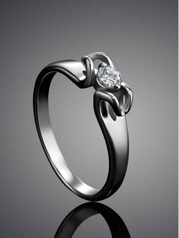 Sterling Silver Floral Ring With Solitaire Crystal, Ring Size: 5.5 / 16, image , picture 2