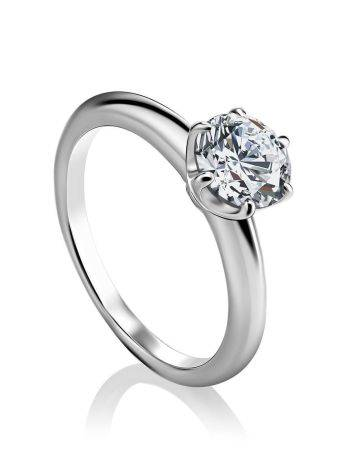 Solitaire Crystal Silver Ring, Ring Size: 6 / 16.5, image