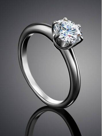 Solitaire Crystal Silver Ring, Ring Size: 6 / 16.5, image , picture 2