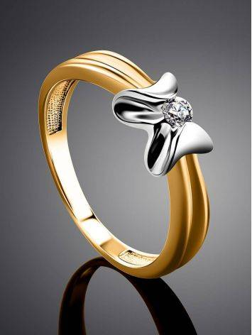 Two Toned Golden Ring With Solitaire Diamond, Ring Size: 6 / 16.5, image , picture 2