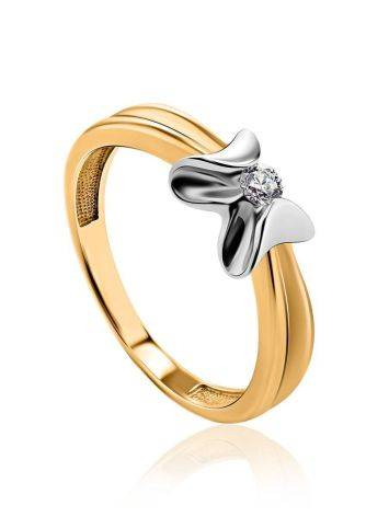 Two Toned Golden Ring With Solitaire Diamond, Ring Size: 6 / 16.5, image