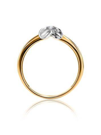 Two Toned Golden Ring With Solitaire Diamond, Ring Size: 6 / 16.5, image , picture 3