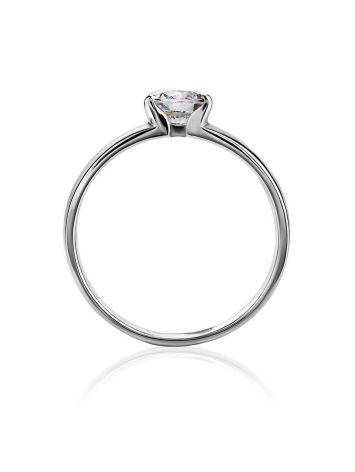 Solitaire Crystal Ring In Sterling Silver, Ring Size: 8.5 / 18.5, image , picture 3