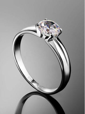 Solitaire Crystal Ring In Sterling Silver, Ring Size: 8.5 / 18.5, image , picture 2
