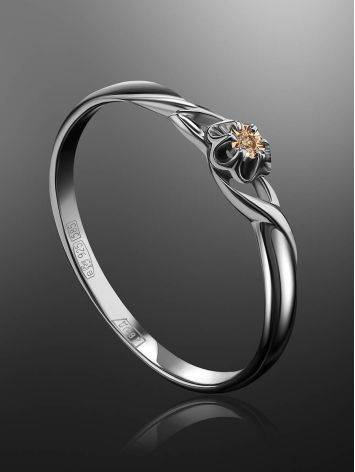 Silver And Gold Ring With Diamond Centerpiece, Ring Size: 6 / 16.5, image , picture 2