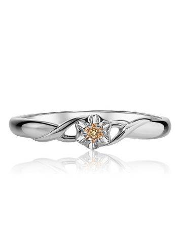 Silver And Gold Ring With Diamond Centerpiece, Ring Size: 6 / 16.5, image , picture 3