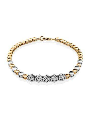 Two Toned Golden Bracelet With Diamonds, image