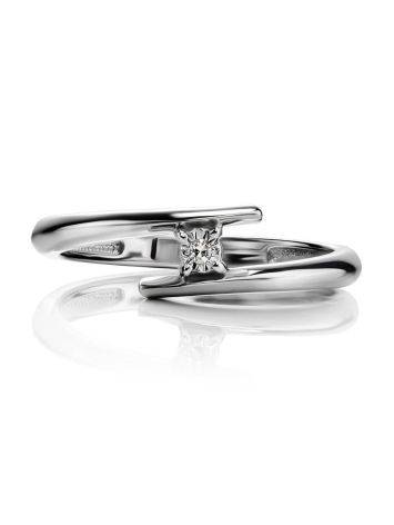 Sterling Silver Diamond Ring, Ring Size: 7 / 17.5, image , picture 3