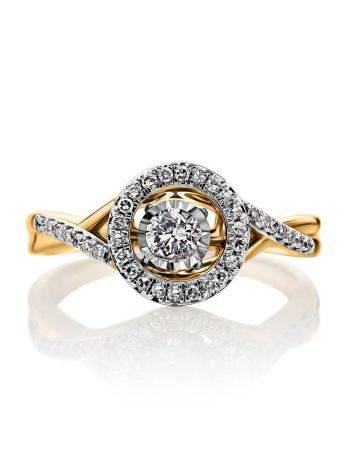 Dancing Diamond Golden Ring, Ring Size: 7 / 17.5, image , picture 3