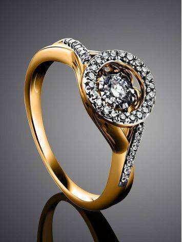 Dancing Diamond Golden Ring, Ring Size: 7 / 17.5, image , picture 2
