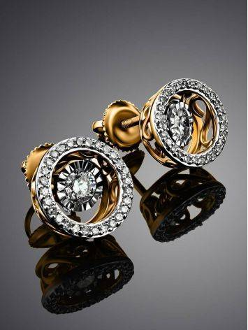 Golden Stud Earrings With Dancing Diamonds, image , picture 2