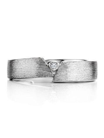 Sterling Silver Ring With Diamond Centerpiece, Ring Size: 6.5 / 17, image , picture 3