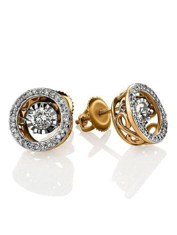 Golden Stud Earrings With Dancing Diamonds, image
