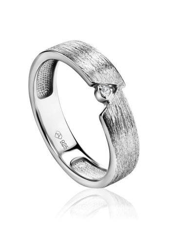 Sterling Silver Ring With Diamond Centerpiece, Ring Size: 6.5 / 17, image