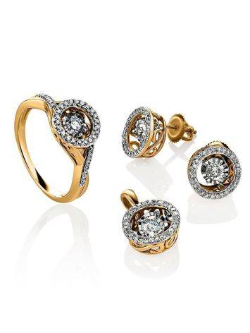 Golden Stud Earrings With Dancing Diamonds, image , picture 3