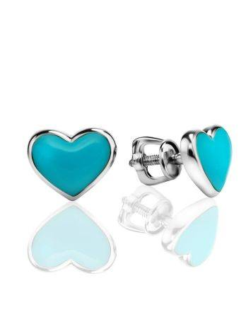 Heart Shaped Silver Studs With Enamel, image