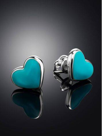 Heart Shaped Silver Studs With Enamel, image , picture 2