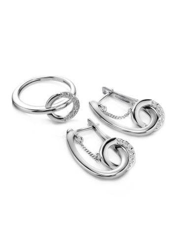 Designer Silver Earrings With White Crystals, image , picture 3