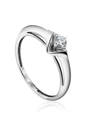 Solitaire Diamond Ring In White Gold, Ring Size: 7 / 17.5, image