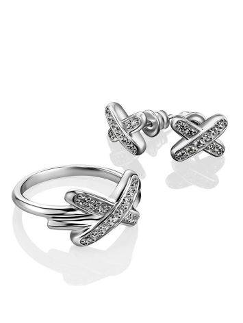 Ultra Stylish Silver Crystal Studs, image , picture 3