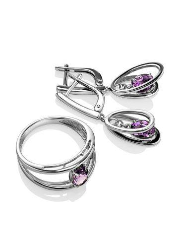 Stylish Silver Dangles With Amethyst, image , picture 3
