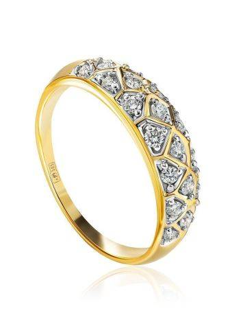 Yellow Gold Diamond Encrusted Ring, Ring Size: 8.5 / 18.5, image