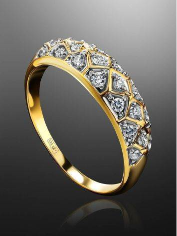 Yellow Gold Diamond Encrusted Ring, Ring Size: 8.5 / 18.5, image , picture 2