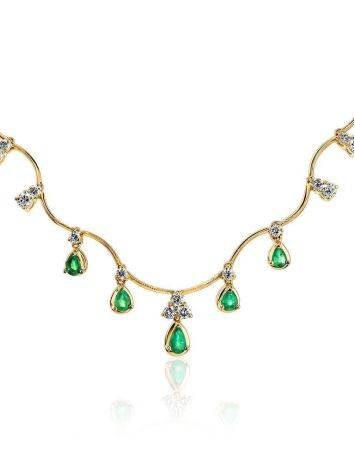 Golden Necklace With Emeralds And Diamonds The Oasis, image