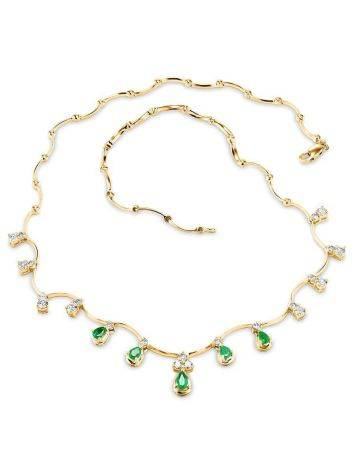 Golden Necklace With Emeralds And Diamonds The Oasis, image , picture 3