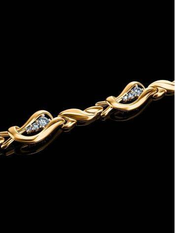 Golden Link Bracelet With Crystals, image , picture 2